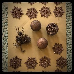 Other - Glittery brown/maroon Christmas ornaments